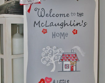 Home Family Plaque.Personalised Present. New Home.Housewarming gift..Handmade sign with surname.A little world created by love.Welcome Sign.