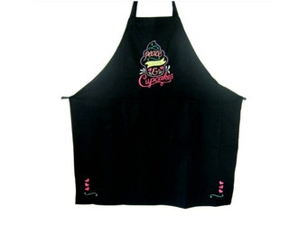 Embroidered Peace, Love & Cupcakes Apron-Personalized Apron-Womens Black Apron-Cupcake Apron