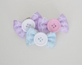 Button Bow Ring Or Hair Clip - Fairy Kei Kawaii Purple Blue Pink