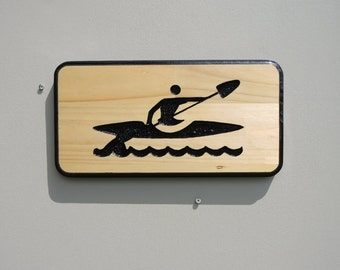 Kayaking - carved custom sign - negative carving