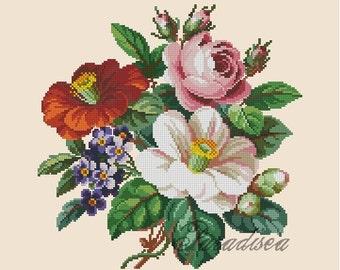 "Cross-stitch pattern ""Bouquet of camellias"""