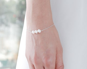 White Freshwater Pearl Silver Bracelet - Sterling Silver Chain - Real Pearl Bracelet - 3 Pearl Bracelet Bridesmaid - Bridesmaid Bracelet