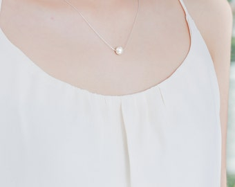 Ivory Silver Pearl Necklace - Bridesmaid Necklace - One Pearl Necklace - Bridesmaid Gift - Floating Single Pearl Sterling Silver - Wedding