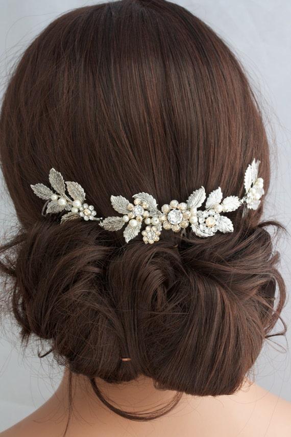 Antique Silver Wedding Hair Accessory Leaf Hair Vine Headpiece