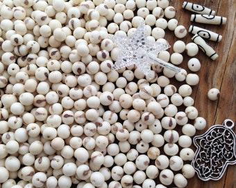 White, Real Natural Acai Beads, Acai Seeds, Organic Beads, Natural Seeds, South American, {Pick your qty}
