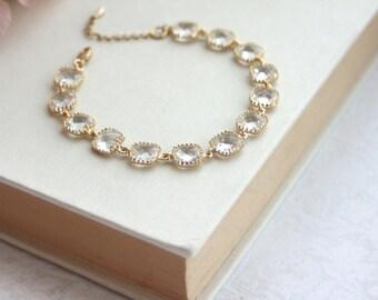 Clear Glass Wedding Bracelet.  Peach Champagne Bracelet, Light Mint Bracelet, Bridesmaid Gfit, Clear Glass Wedding Bracelet, Gold Wedding