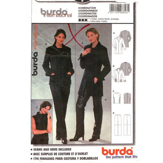 Long Jacket, Sleeveless Top, Pants Sewing Pattern Burda 8846 Pockets Trousers Size 10 to 20 Plus