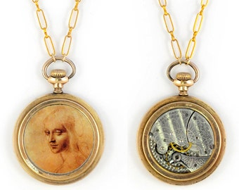 "Antique 1899 Gold filled Waltham Pocket Watch Movement and Davinci's Drawing of ""Angel"" Steampunk Necklace"
