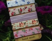 5 Pack Vintage Floral Lavender Print Knot Hair Ties Fold Over Elastic Stretch Bracelet by Whimsical Elements