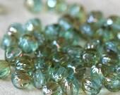 5mm Melon Bead - Czech Glass Beads Jewelry Making Supplies (100 beads)  Seafoam Aquamarine Celsian