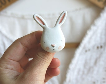 Animal brooch - Paper clay bunny - wearable art- made to order