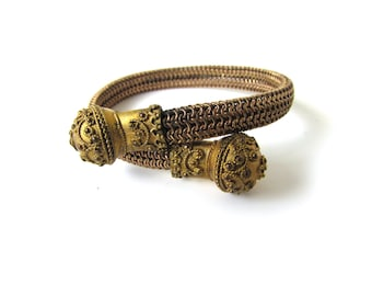 Antique Victorian Bypass Bracelet With Etruscan Design c.1880s