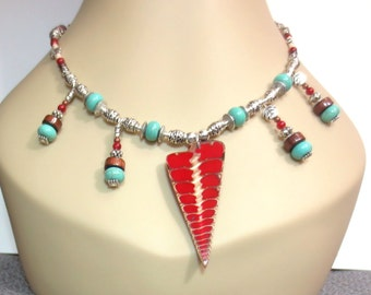 Beaded Fringe Necklace/ Red Bali Shell Pendant/Turquoise Beading/Rustic Wooden Beads/Tribal Style Primitive Necklace/Shell Bead Necklace