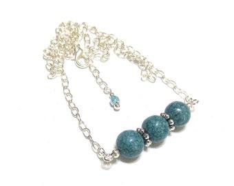 Silver Chain Necklace, Blue Jasper, Adjustable Necklace, Silver Oval Chain, Veined Dusty Blue Jasper Beads, Minimalist Necklace, SRAJD