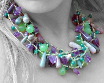 Unique Multi Stone Cluster Statement Necklace, Chunky Multi Strand Necklace, Green Purple Gemstone Designer Necklace, Multi Stone Jewelry