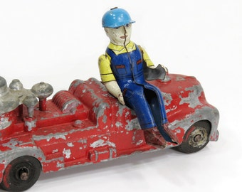 Tin Litho Toy Man, Seated Farmer, Tractor Driver, Construction Worker, Overalls, Jointed Arms, Toy REPLACEMENT