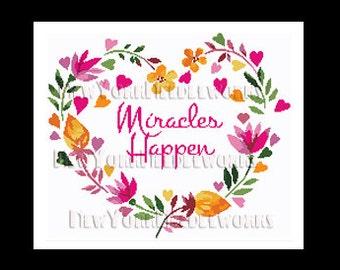 Heart Cross Stitch, Miracles Happen Cross Stitch, Flower Heart, Heart, Crochet Pattern, Heart With Flowers Cross Stitch NewYorkNeedleworks