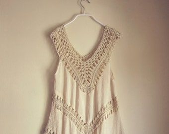 Top Boho Chic Cotton Viking Beach Tunic Indian Ribbed Cream Beige Vest Coverup Pullover Ripped Autumn LOTR Grecian Throw Grunge Gypsy Tank