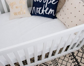 Carpe Noctem Pillow, Navy and White