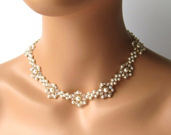 Pearl Bridal Necklace, Wedding Necklace, Pearl and Gold Necklace, Bridal Jewelry, Swarovski Crystal Necklace, Pearl Jewelry, Wedding Jewelry