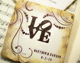 Love Park Personalized Wedding Gift Coasters, Personalized Wedding Coasters Set of 4 Bridal Registry, Wedding Registry