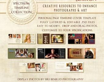 Graduation Senior Facebook Timeline Photoshop Template - Spectrum Timeline Collection