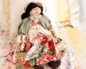 Art Doll Cloth Doll CELIA 15 inch OOAK Soft Sculpture Handmade CharlotteStyle SIGNED