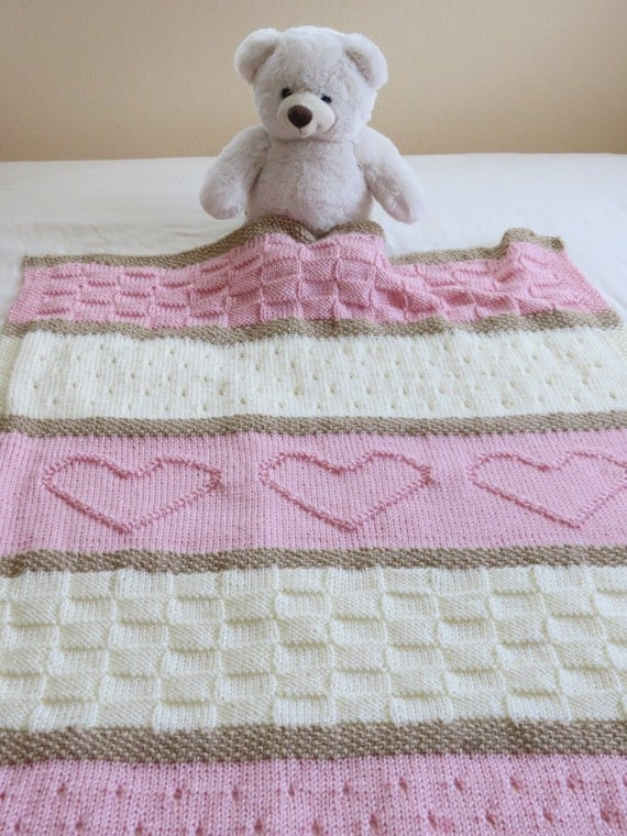 Baby Blanket Pattern Knit Baby Blanket by TheKnittingCloset