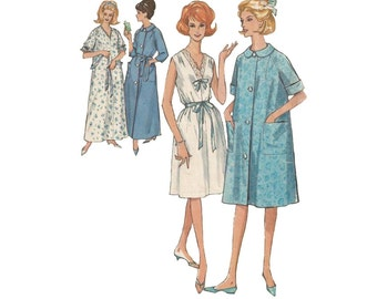 Vintage 60s Long or Short Nightgown Pattern with Flared Robe Simplicity 5001 Sewing Pattern Size 18-20 Bust 38-40