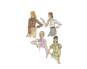 SALE! Womens Blouse Pattern Pointy Collar Puffed Sleeves Tie Neck Pussy Bow Butterick 6928 Size 10 Bust 32.5 Vintage Sewing Pattern