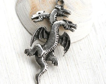 Large Dragon pendant, Antique Silver Three headed dragon, Mystic, metal dragon charm, Greek metl casting - 1pc - F264