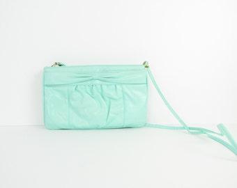 Mint Sorbet Crossbody Purse - Vintage 1980s Shoulder Bag w/ Bow in Pistachio