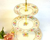 3 Tier Flowers and Scrolls Cake Stand Riviera by Syracuse China Federal Shape