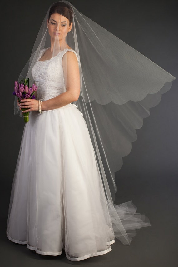 2-tier Cathedral Drop Veil with scalloped edging | floating veil, long veil, white and ivory colors