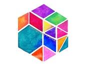 Bohemian hexagon / TribalInk etsy shop #bohochic #bohemianart #hexagon #geometric #hippie #art #etsy #triangles #TribalInk