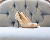 Gold Bridal Heels, Wedding Shoes, Gold Heels, Bridal Shoes, Wedding Heels, Peep Toe Heels, Gold Sparkle Pumps with Ivory Lace. US Size 7
