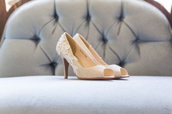 Gold Heels with Ivory Lace