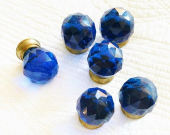 Vintage Cottage Home Cobalt Blue Glass Drawer Pulls with Brass Bases, Set of Six, Romantic Home, Olives and Doves