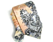 Hand Painted Silk Tie. Gift for Him. Handmade Silk Tie. Grooms Tie. Lace Style Tie. One of a Kind Wearable Art. Neck Tie. MADEtoORDER