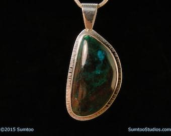 Malachite/Chrisocolla/Cuprite in Argentium Sterling Silver Pendant