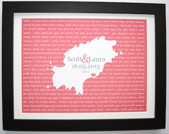 Song Lyric, Custom Wedding Gift, Anniversary Gift, Personalized Gift For Bride And Groom, Couples Gift Engagement Any Or Ibiza Map Art Print