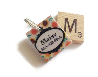 1950 Flower Scrabble Dog ID Tag - Pet Tag - Dog ID Tags - Unique Pet Tag