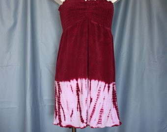 70s Terrycloth dress  tie dyed purple sundress smocked bodice slip on bust up to 36 size medium large