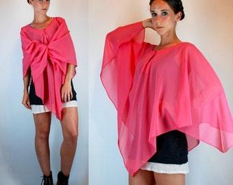 Vintage 80s Draped Disco Sheer Pink Cape Top / Hanky Hem fluid Mini Scarf Dress. Bohemian Wild Outerwear. Avant Garde Festival Jacket OS