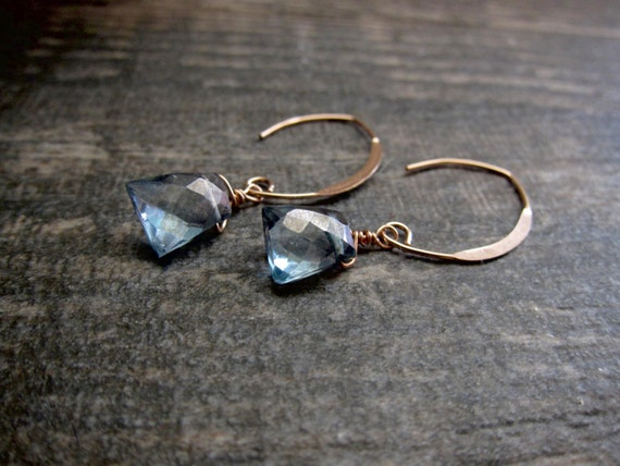 Rose Gold Aqua Aura Quartz Earrings