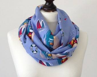 Boho Cotton Scarf,  Nautical Blue Scarf, Printed Loop Scarf, Summer Circle Scarf, Infinity Scarf, Sailor Scarf, Women's Gift