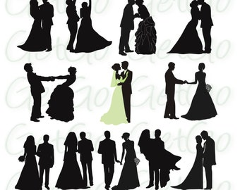 Wedding Silhouettes Printable Download Graphic Artwork Clip Art Vector Bride and Groom Clipart Transfer Art Decor