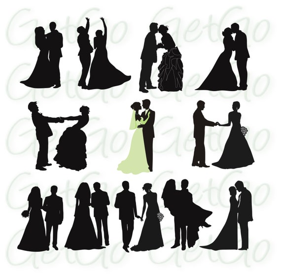 Wedding Silhouettes Printable Download Graphic Artwork ...