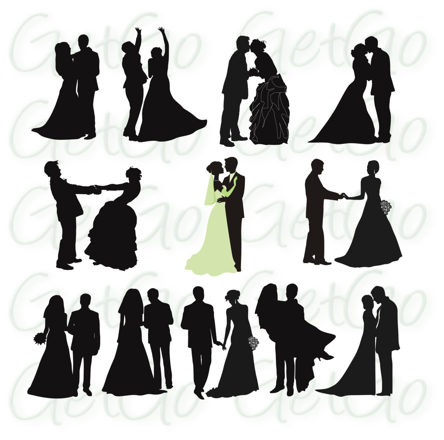 Wedding Silhouettes Printable Download Graphic Artwork