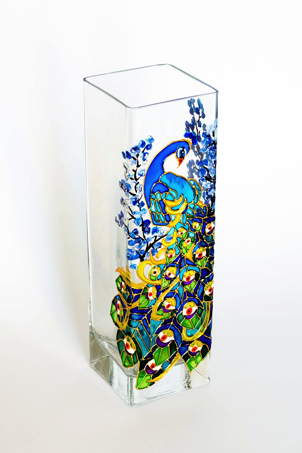Peacock Vase Peacock Decor Wedding Favor Hand Painted Vase